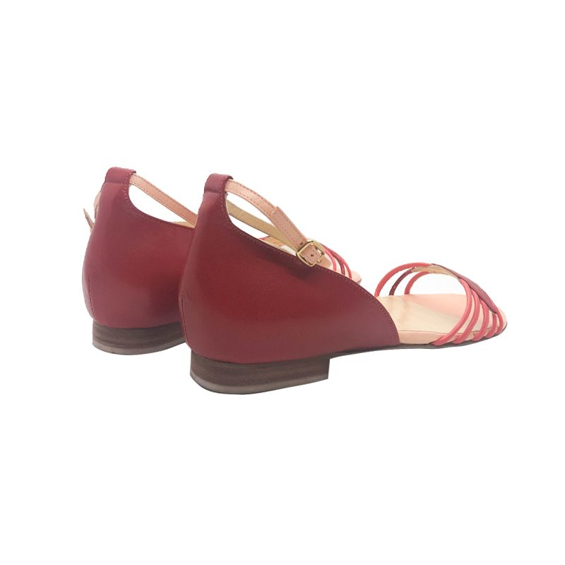 Sandali bassi in pelle rossa e rosa fatti a mano in Italia, modello da donna by Fragiacomo
