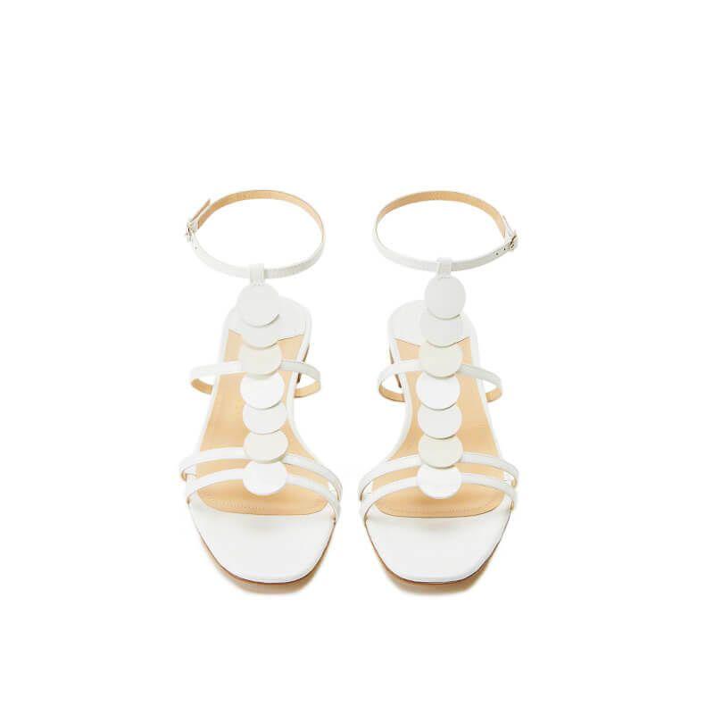 Sandali bianchi in vernice con cinturino e dischi in pelle di camoscio, collezione SS19 by Fragiacomo, vista dall'alto