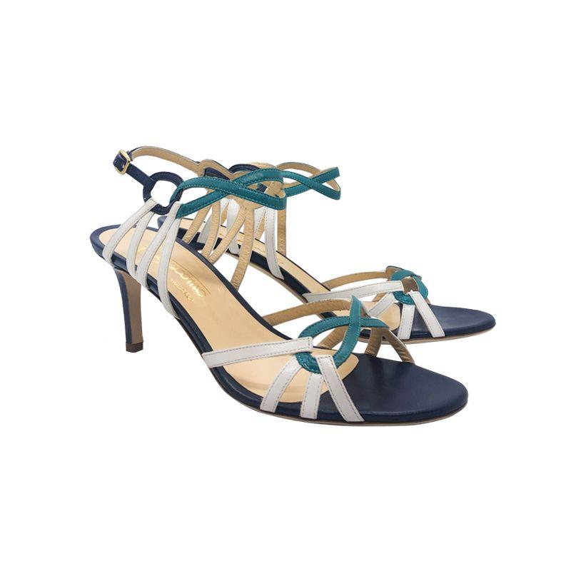 Sandali in pelle bianca e blu scuro con tacco medio fatti a mano in Italia, modello da donna by Fragiacomo