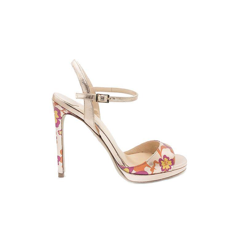Sandali con tacco alto in pelle laminata oro rosa fatti a mano in Italia con stampa floreale multicolor, modello da donna by Fragiacomo
