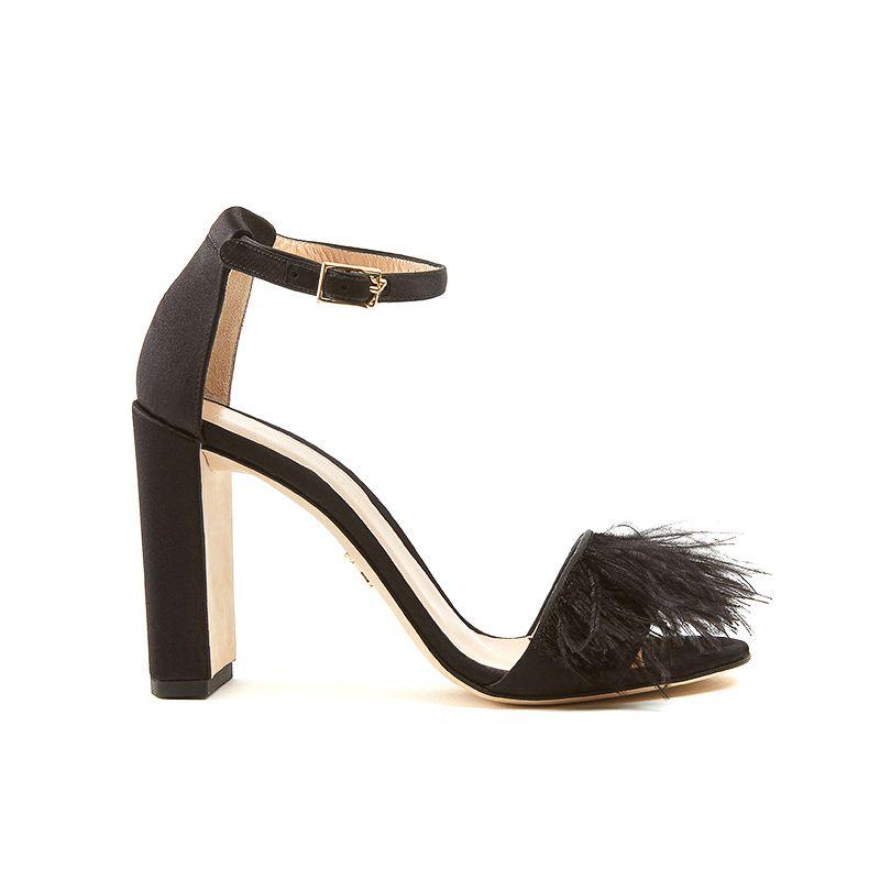 Sandali alti neri con tacco largo in raso con piume e cinturino alla caviglia, da donna by Fragiacomo