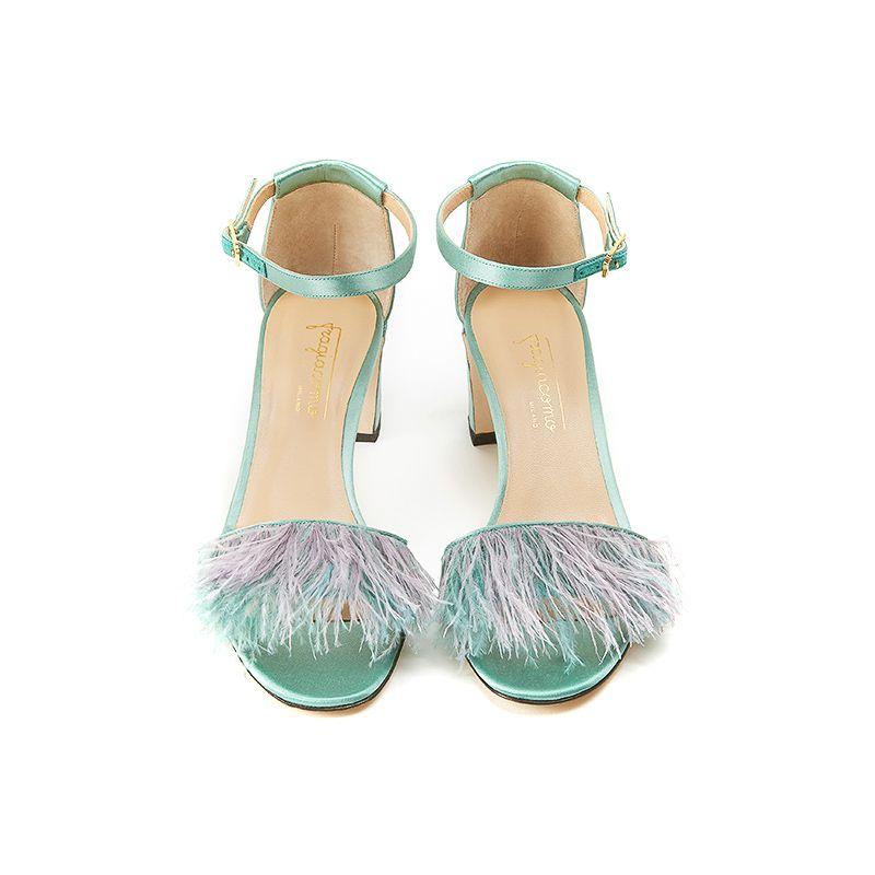 Sandali verde menta in raso con piume, tacco 5 cm e cinturino alla caviglia, da donna by Fragiacomo