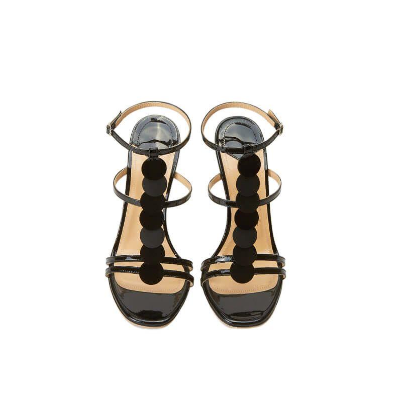 Sandali neri in vernice con cinturino, dischi in pelle e tacco alto 100mm, collezione SS19 by Fragiacomo, vista dall'alto