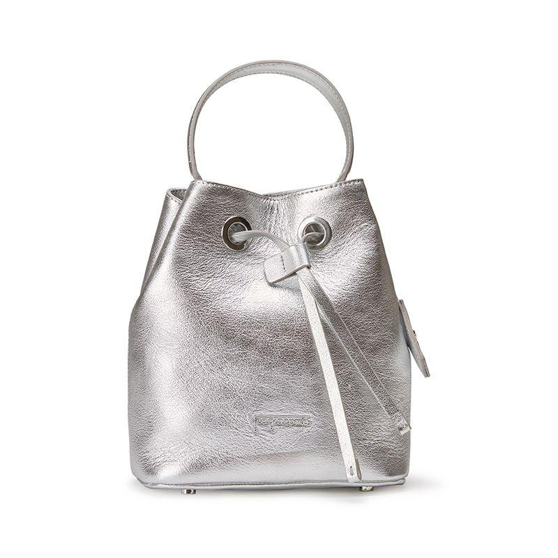Borsa secchiello Bucket Bag in pelle laminata argento con logo Fragiacomo