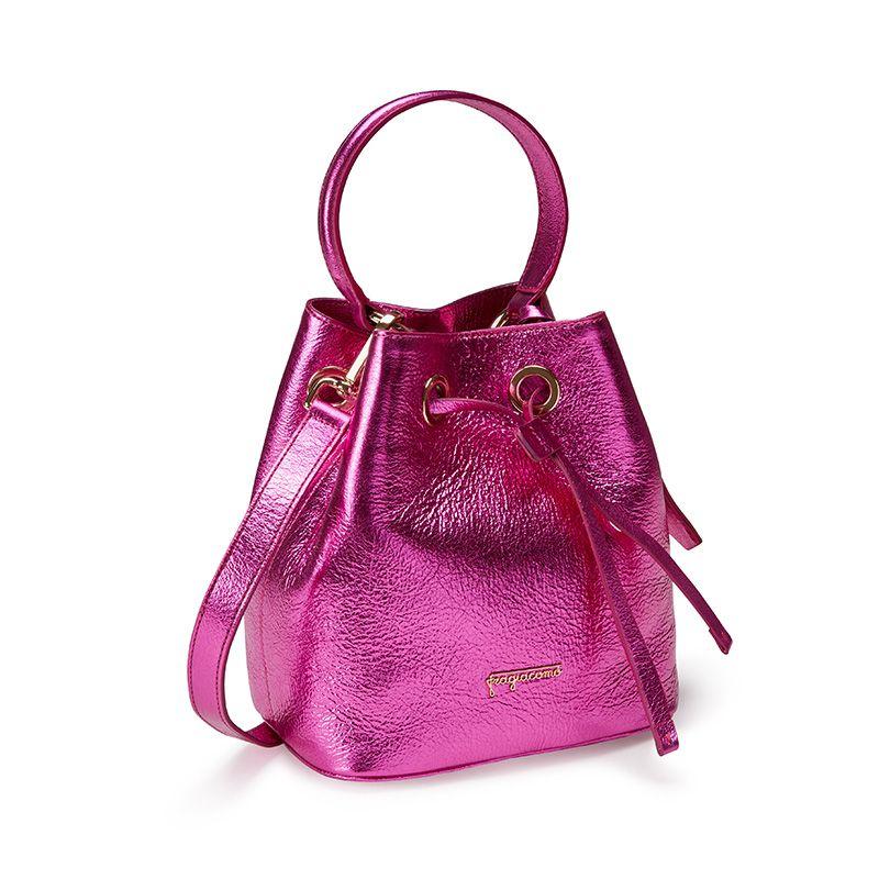 Borsa secchiello Bucket Bag in pelle laminata fucsia con logo Fragiacomo