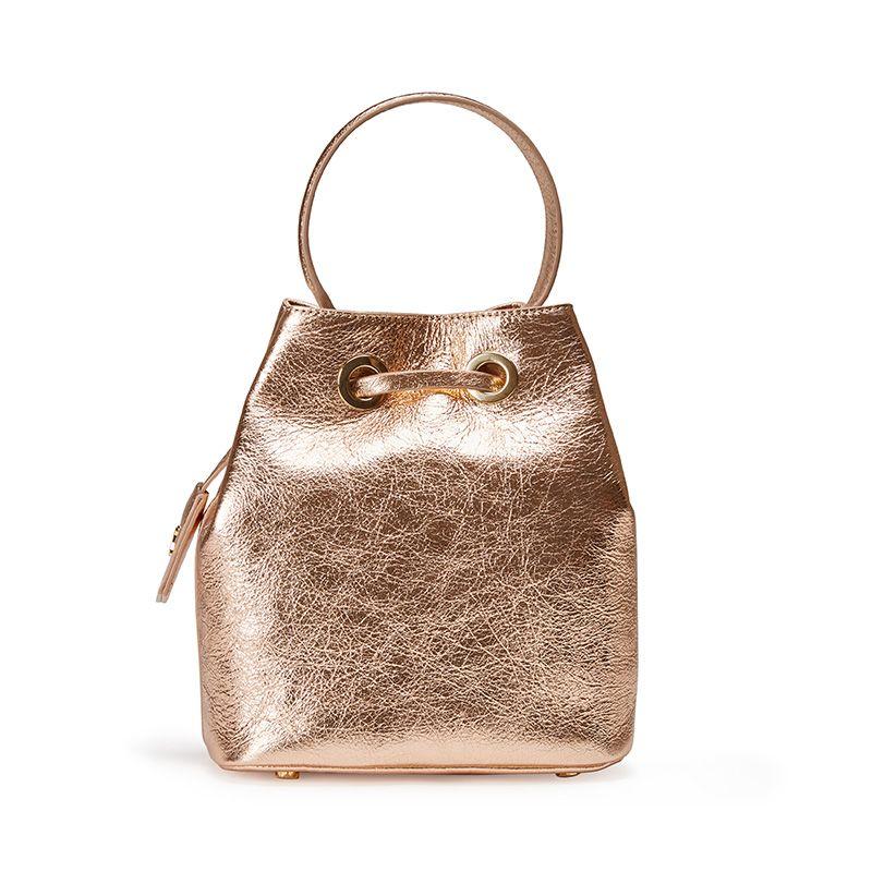 Borsa secchiello Bucket Bag in pelle laminata oro con logo Fragiacomo