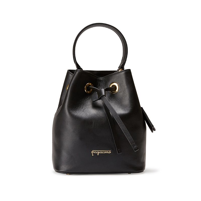 Borsa secchiello Bucket Bag in pelle nera con logo Fragiacomo