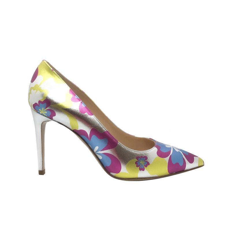 Silver and blue leather Flower Candy pump with 85 mm heel hand made in Italy, women's model by Fragiacomo