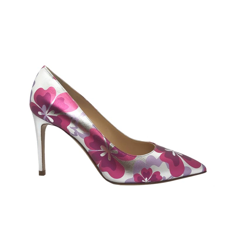 Silver and fuchsia leather Flower Candy pump with 85 mm heel hand made in Italy, women's model by Fragiacomo