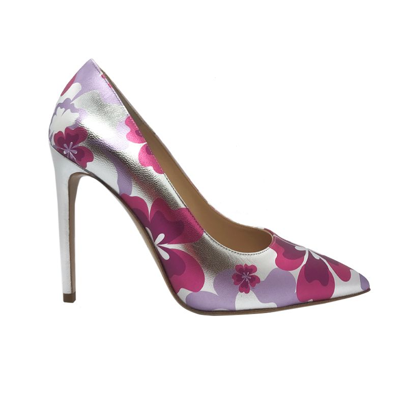 Silver and fuchsia leather Flower Candy pump with 105 mm heel hand made in Italy, women's model by Fragiacomo