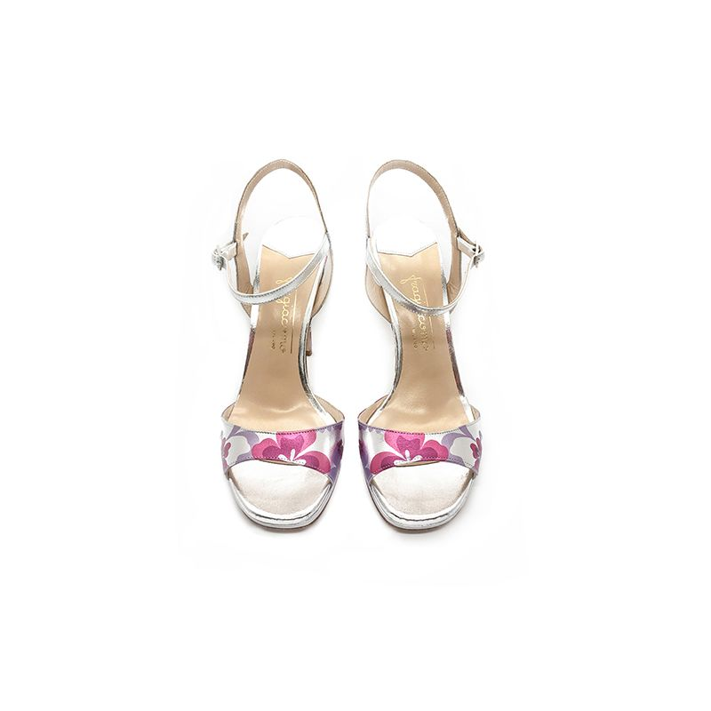 Silver laminated leather high heel sandals with multicolor floral pattern hand made in Italy, women's model by Fragiacomo