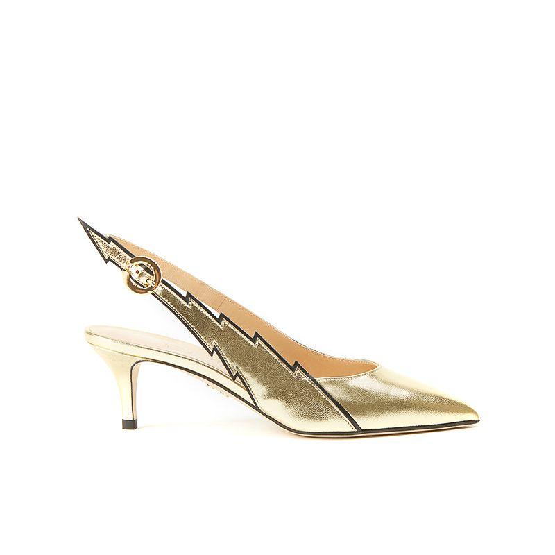 Slingback in nappa oro con cinturino fulmine e tacco 55 mm, collezione Flash by Fragiacomo