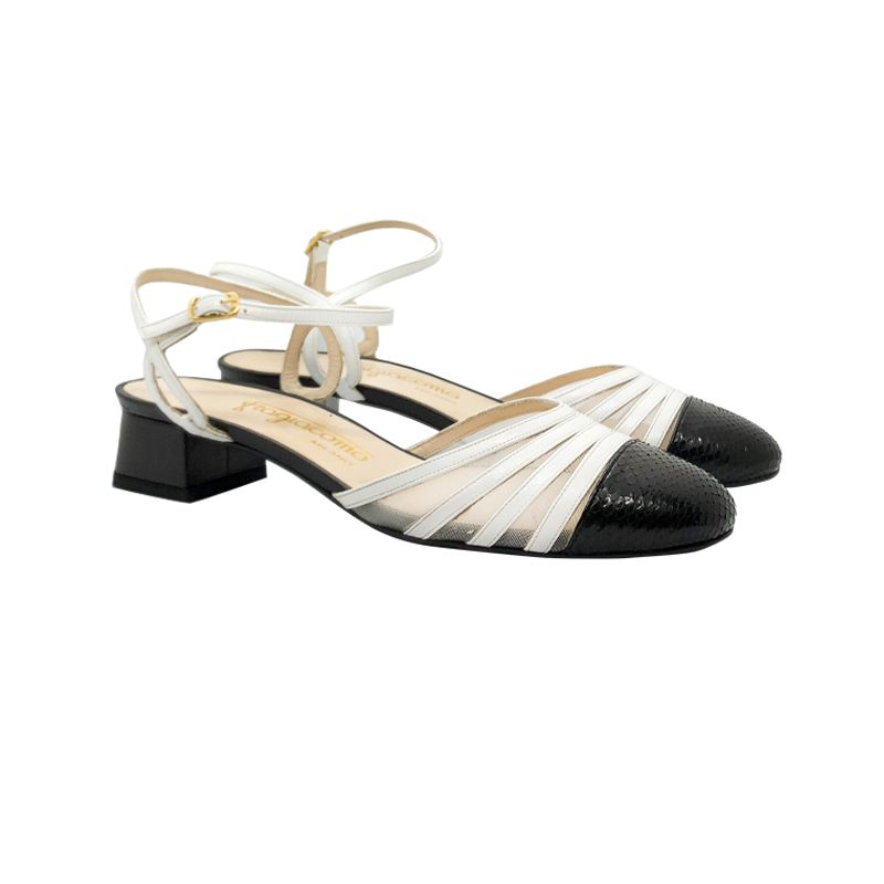 Slingback in pelle bianca e nera con tacco basso fatti a mano in Italia, modello da donna by Fragiacomo