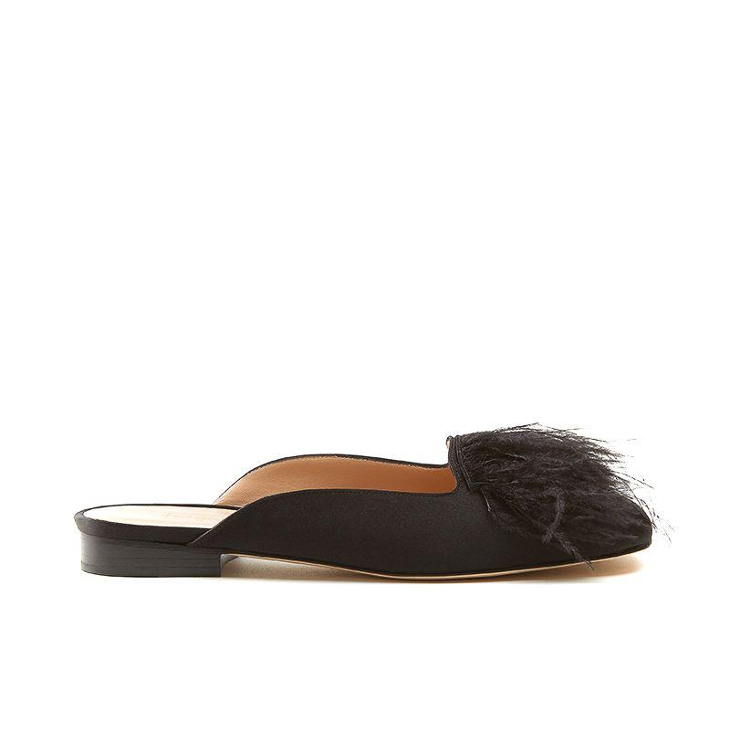 Slippers nere in seta con piume marabou e tacco basso 10 mm, da donna by Fragiacomo