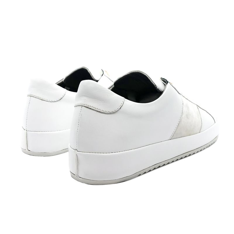 Sneakers in pelle bianca con striscia in velluto fatte a mano in Italia, modello da donna by Fragiacomo