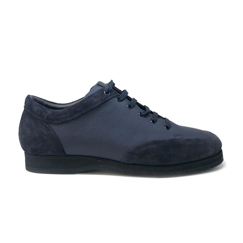 Blue deer leather and suede sneakers hand made in Italy, men's model by Fragiacomo