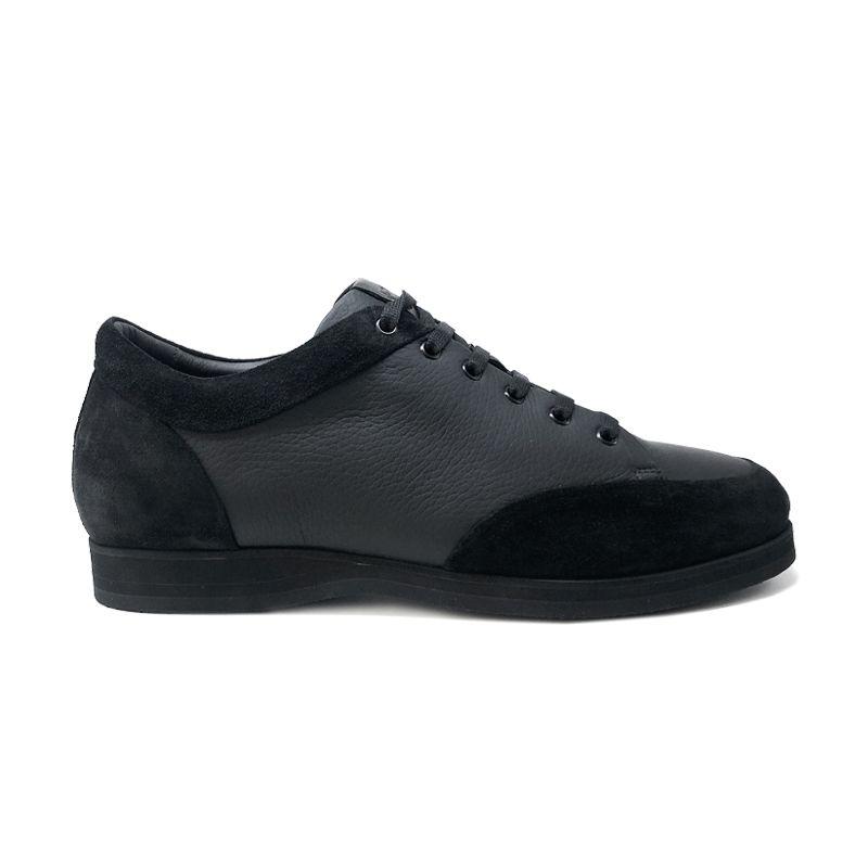 Sneakers in pelle di cervo e camoscio nero fatte a mano in Italia, modello da uomo by Fragiacomo