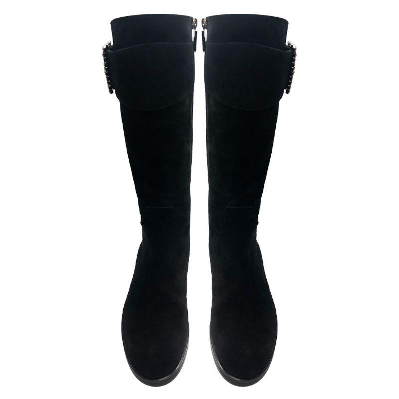 Stivali neri in camoscio con fibbia di cristalli, modello da donna by Fragiacomo
