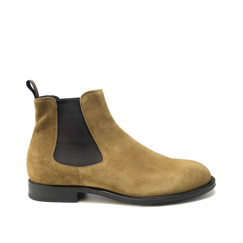 Tobacco suede Chelsea ankle boots hand made in Italy, men's model by Fragiacomo
