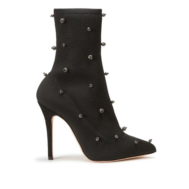 Tronchetti alti in calza stretch neri fatti a mano in Italia con sfere di cristallo cucite, modello da donna by Fragiacomo