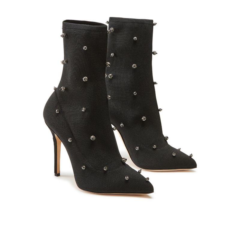 Tronchetti alti in calza stretch neri fatti a mano in Italia con sfere di cristallo cucite, modello da donna by Fragiacomo, vista laterale