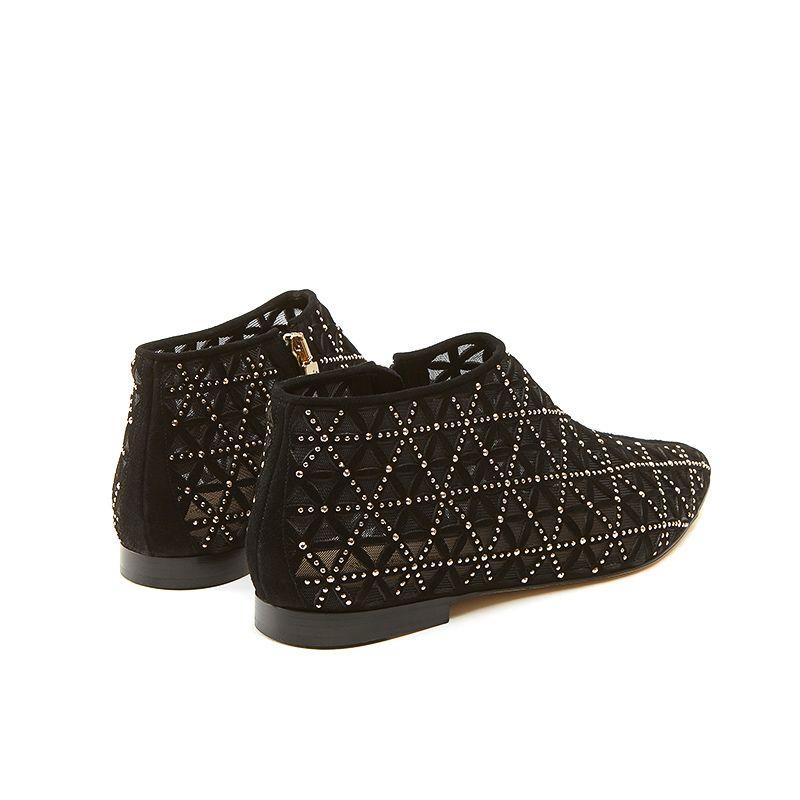 Tronchetti neri in camoscio con iconico pattern laserato, piccole borchie dorate e tacco basso, da donna by Fragiacomo
