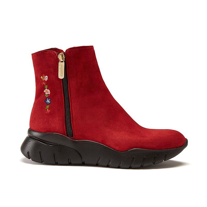 Tronchetti in pelle di camoscio rossi fatti a mano in Italia con zip e ricamo, modello da donna by Fragiacomo