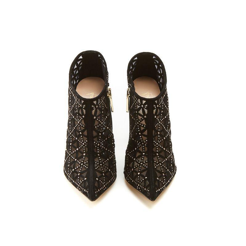 Tronchetti neri in camoscio con iconico pattern laserato, piccole borchie dorate e tacco stiletto 10 cm, da donna by Fragiacomo