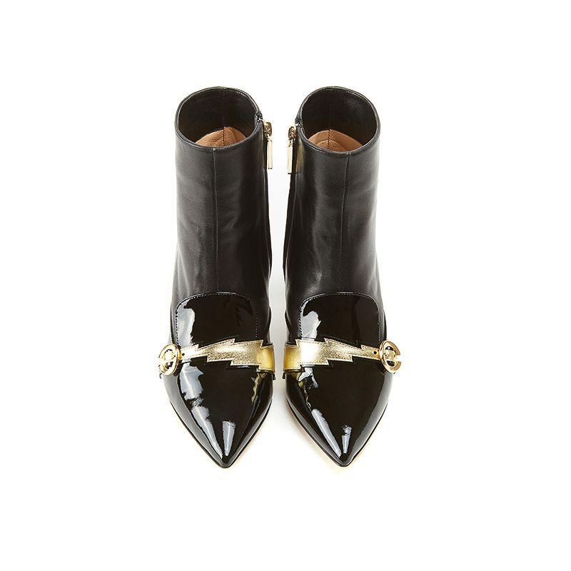 Tronchetti a punta tacco basso in vernice nera e nappa con dettaglio fulmine laminato oro, collezione Flash by Fragiacomo