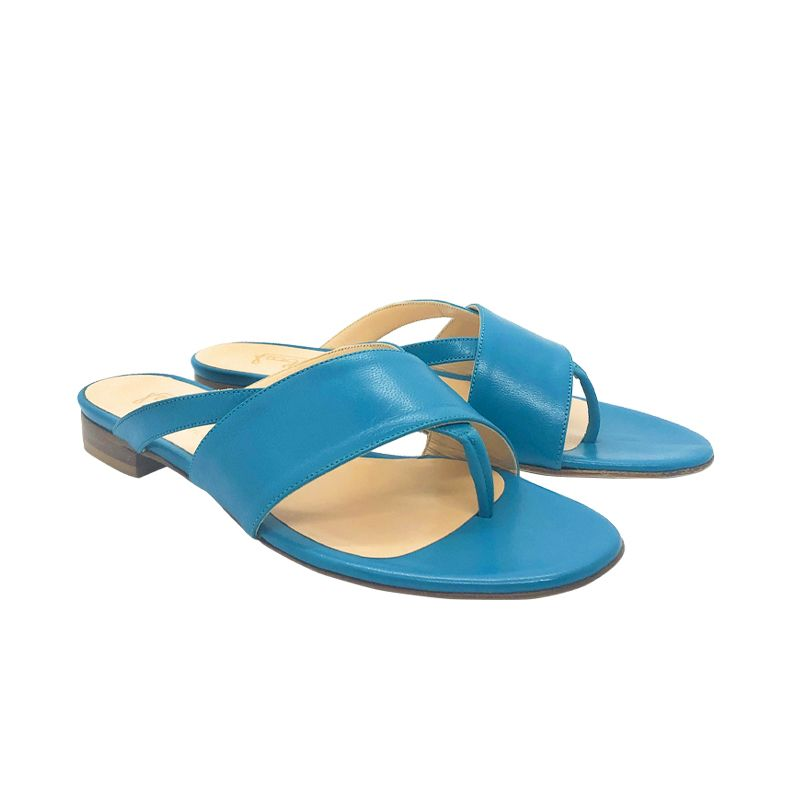 Turquoise leather flat sandals hand made in Italy, women's model by Fragiacomo