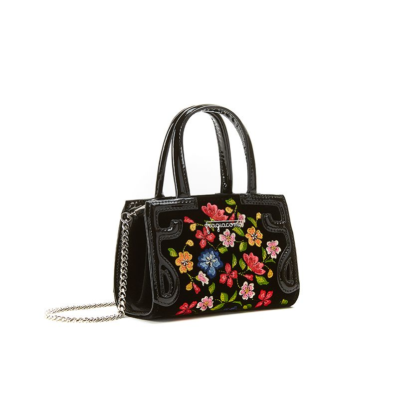 Micro Icon bag in black velvet with multicolour floral embroidery all over woman