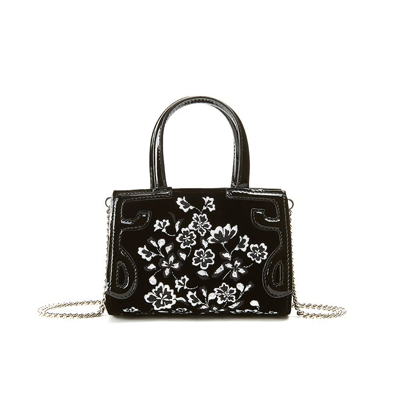 Micro Icon bag in black velvet with white floral embroidery all over woman