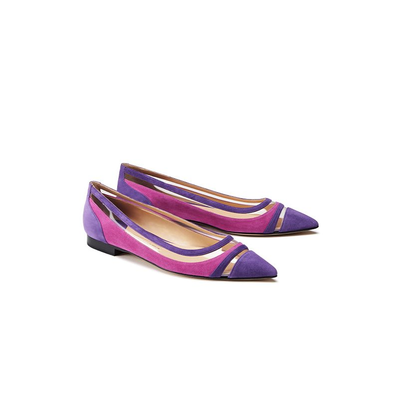 Violet and fuchsia suede ballerinas with pvc details hand made in Italy, women's model by Fragiacomo