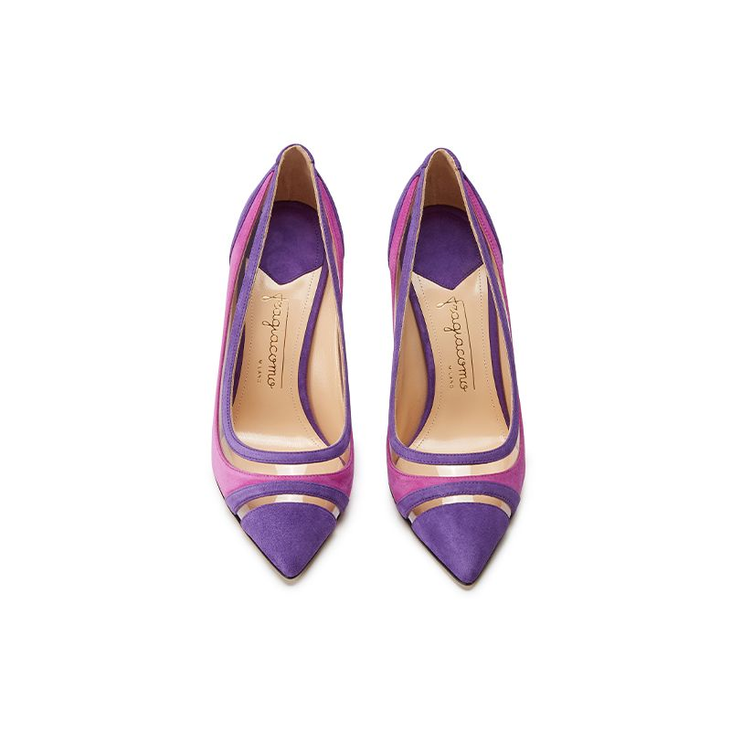 Violet and fuchsia suede pumps with pvc inserts hand made in Italy, women's model by Fragiacomo