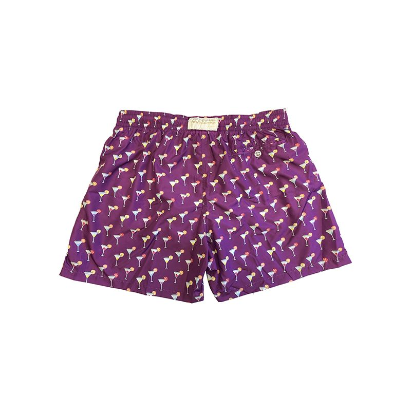 Violet men's swim shorts in light fabric with cocktail pattern made in Italy by Fragiacomo
