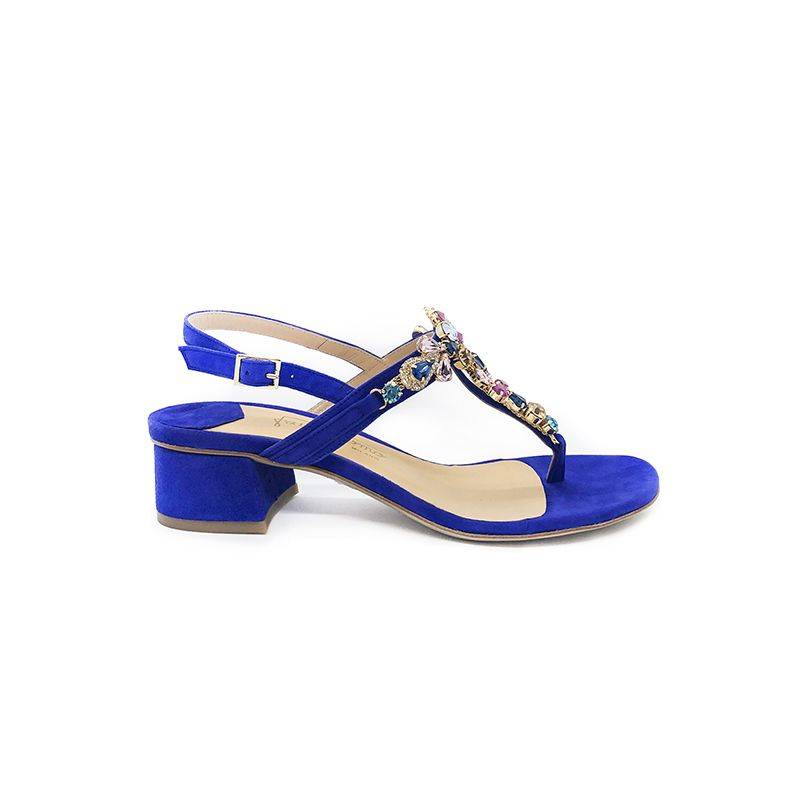 Violet suede sandals with multicolor crystals hand made in Italy, women's model by Fragiacomo