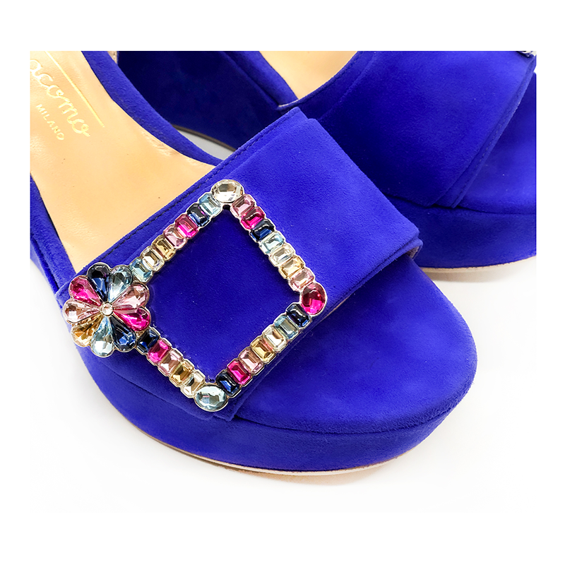 Violet suede platform sandals with multicolor crystal buckle hand made in Italy, women's model by Fragiacomo
