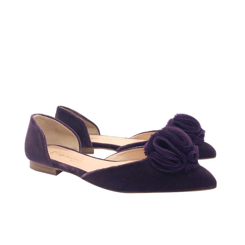 Violet velvet ballerinas with rouche hand made in Italy, women's model by Fragiacomo