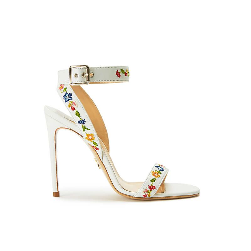 White leather sandals with embroidered straps and high 100mm stiletto heel, SS19 collection by Fragiacomo