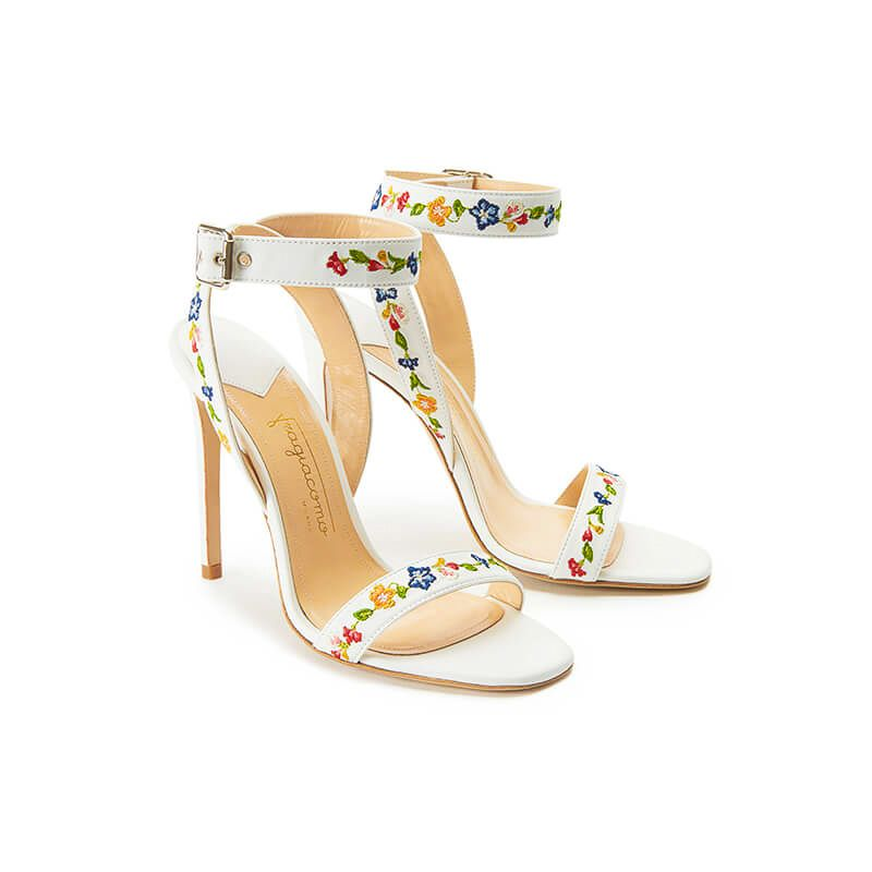 White leather sandals with embroidered straps and high 100mm stiletto heel, SS19 collection by Fragiacomo, side view
