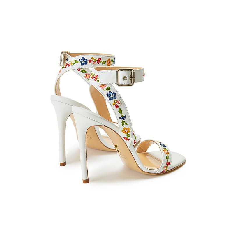 White leather sandals with embroidered straps and high 100mm stiletto heel, SS19 collection by Fragiacomo, back view