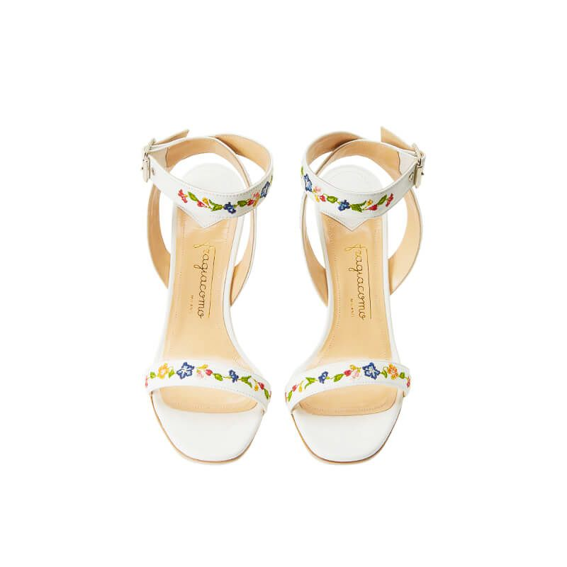 White leather sandals with embroidered straps and high 100mm stiletto heel, SS19 collection by Fragiacomo, over view