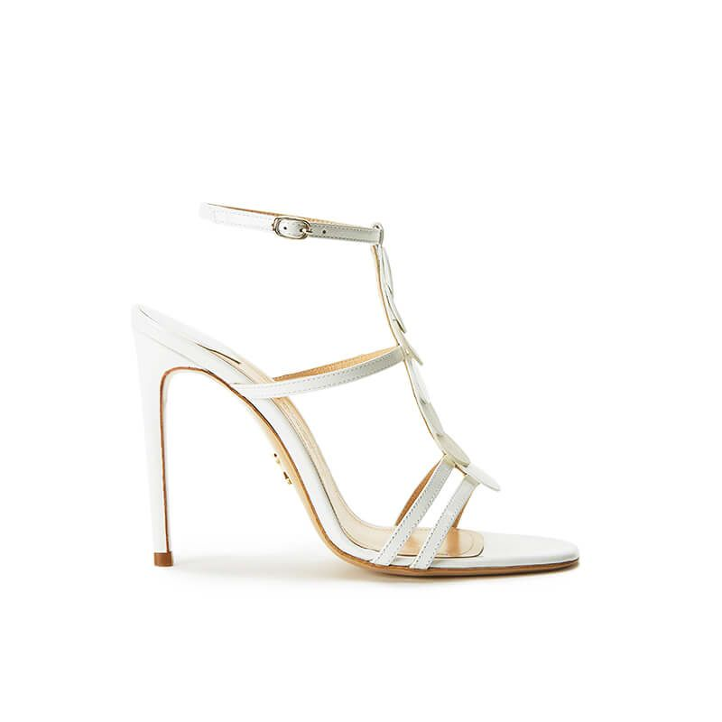 White patent leather sandals with ankle strap, leather discs and high heel 100mm, SS19 collection by Fragiacomo
