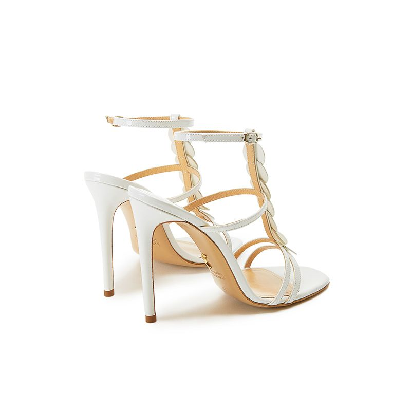 White patent leather sandals with ankle strap, leather discs and high heel 100mm, SS19 collection by Fragiacomo, back view
