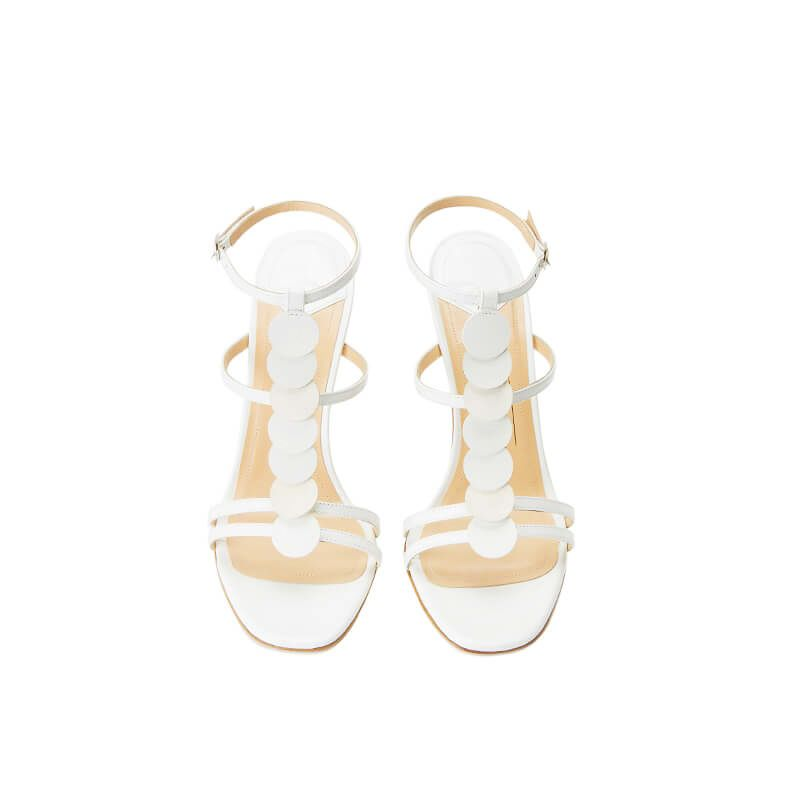 White patent leather sandals with ankle strap, leather discs and high heel 100mm, SS19 collection by Fragiacomo, over view