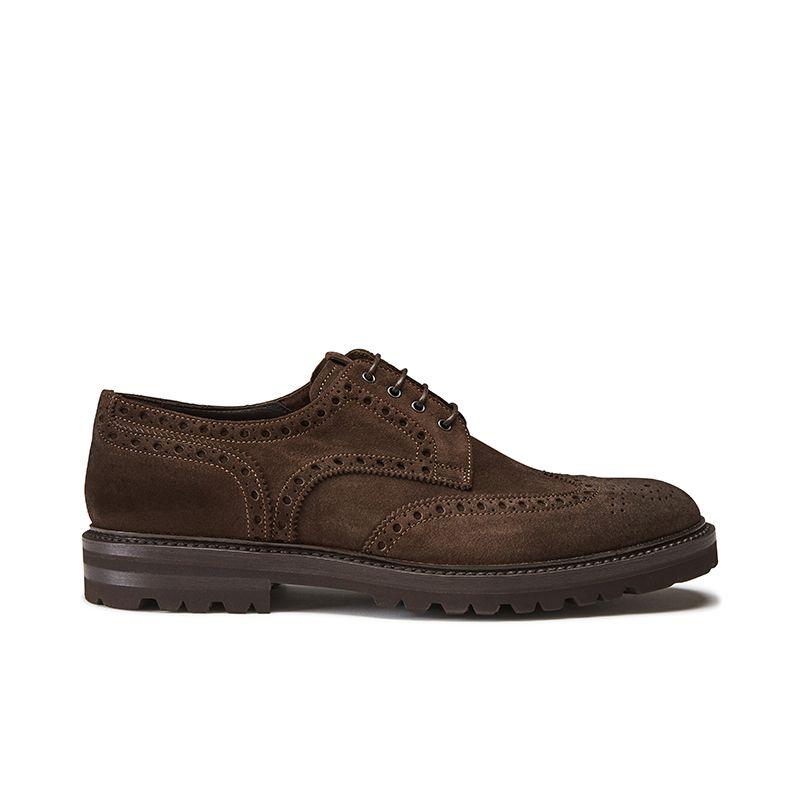 Wingtip dark brown suede Derby shoes, men's model by Fragiacomo