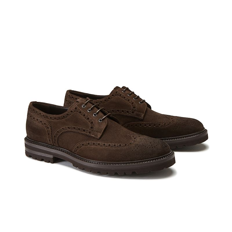 Wingtip dark brown suede Derby shoes, men's model by Fragiacomo, side view