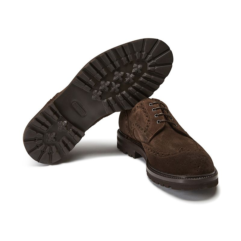 Wingtip dark brown suede Derby shoes, men's model by Fragiacomo, bottom view