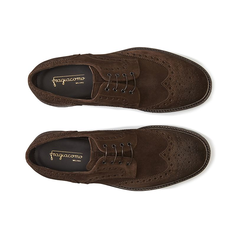 Wingtip dark brown suede Derby shoes, men's model by Fragiacomo, over view