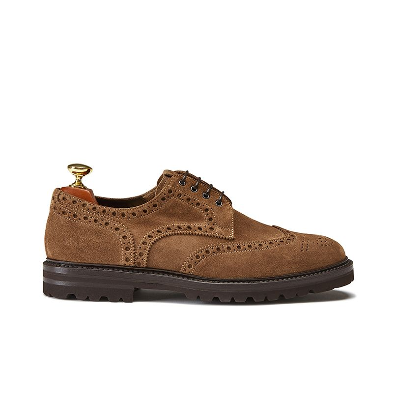 Wingtip tobacco suede Derby shoes, men's model by Fragiacomo